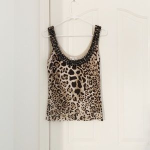 Cache Cheetah Print Tank Top With Beaded Neck